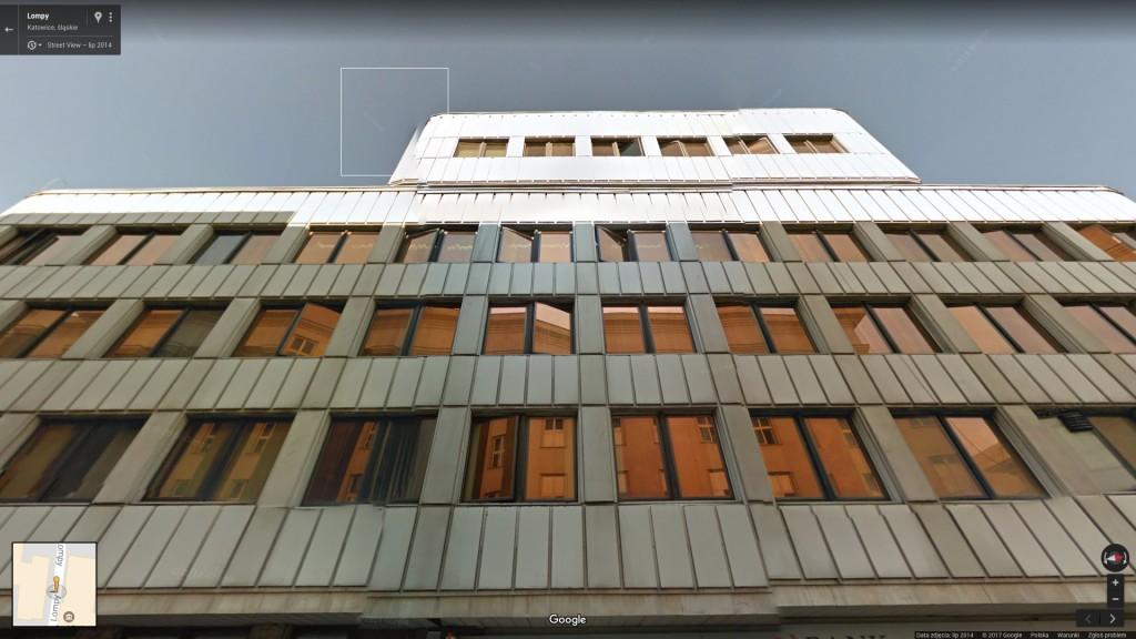 Plac Sejmu Śląskiego 2, widok od ul. Lompy, Katowice Miasto Ogrodów (Google Street View)